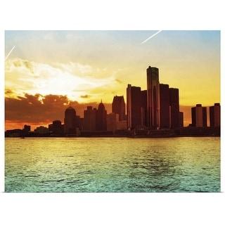"""Detroit skyline, Michigan"" Poster Print"