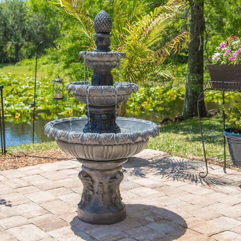 """Antoni 45"""" Outdoor 3-Tier Floor Fountain - Zinc - 26"""" Dia. x 45' - 26"""" x 45"""""""