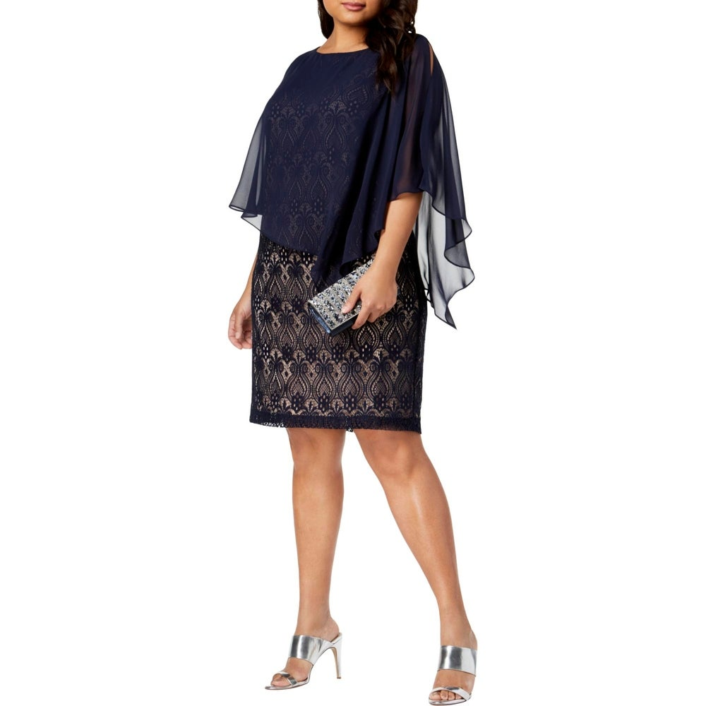 Connected Apparel Womens Plus Cocktail Dress Lace Chiffon