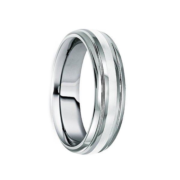 SEPTIMIUS Platinum Inlaid Tungsten Wedding Band with Dual Grooves & Polished Finish by Crown Ring - 6mm