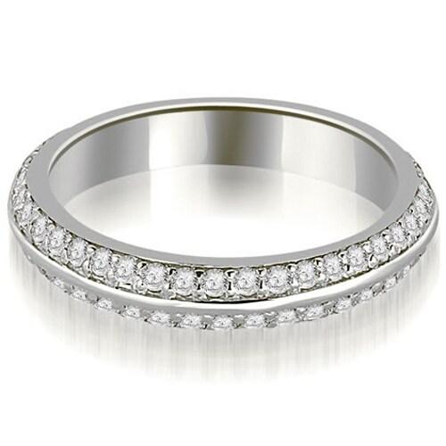 0.40 cttw. 14K White Gold Knife Edge Round Cut Diamond Wedding Band