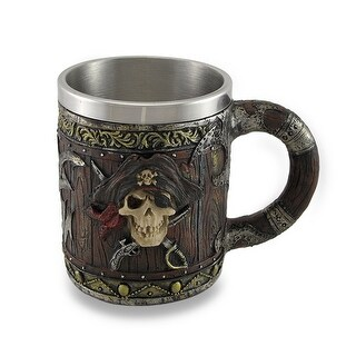 Wood Look Pirate Skull Drinking Tankard Gothic Coffee Cup Mug