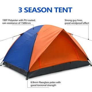 ODOLAND Windproof 2 Person Tent w/ Carry Bag 2 Mesh Doors for Camping Traveling Hiking Backpacking Lightweight