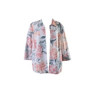 Alfred Dunner Plus Size Pink Gray Open-Front Floral-Print Jacket 20W