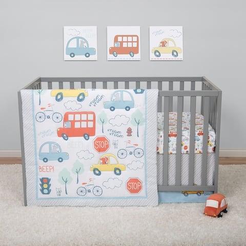 Beep Beep Transportation 4 Piece Crib Bedding Set