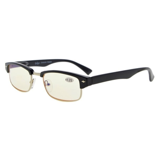 Eyekepper Spring Hinge Classic Computer Reading Glasses Metal with Plastic Rimmed (Yellow Lens, +1.50)