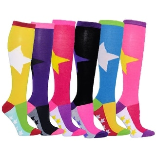 6 Pairs Women's Fancy Design Multi Colorful Patterned Bold Star & Mini Stars Knee High Socks