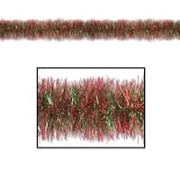 100' Decorative Gleam 'N Tinsel Shiny Red and Green Christmas Garland - Unlit