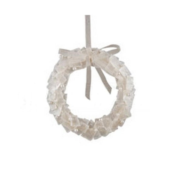 """5"""" Winter White Pearl Accented Artificial Wreath Christmas Ornament"""