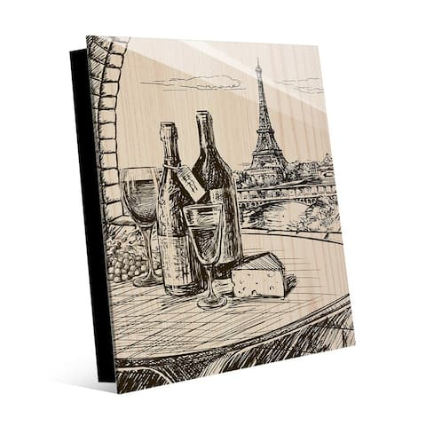 Kathy Ireland Paris View with Wine & Cheese Drawing on Acrylic Wall Art Print