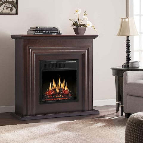 Electric Fireplace with Mantel Package Freestanding Fireplace Heater Corner Firebox with Log & Remote Control, 750-1500W, Brown
