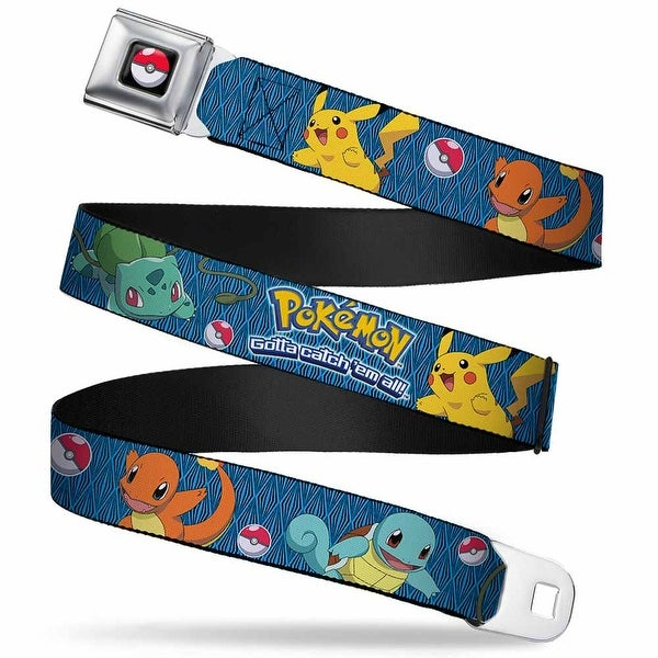 Pok Ball Full Color Pokemon Kanto Starters Gotta Catch 'Em All Blue Black Seatbelt Belt