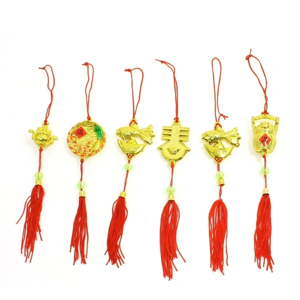 Unique Bargains Spring Festival Xmas Car Tasseled Hanging Decoration Red Gold Tone 6 Pieces