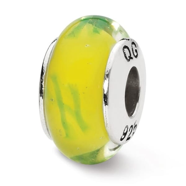 Sterling Silver Reflections Yellowith Green Scribbles Hand-blown Glass Bead (4mm Diameter Hole)