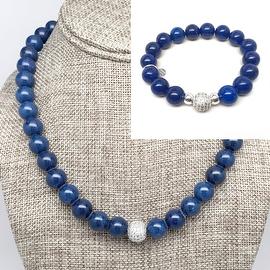 "Julieta Jewelry - Sterling Silver 10mm Blue Jade Cubic Zirconia Pave Ball 'Radiance' Set, 20? Necklace & 7"" Stretch Bracelet"