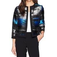 Kasper Black Womens Size 6 Shimmer Open-Front Printed Jacket