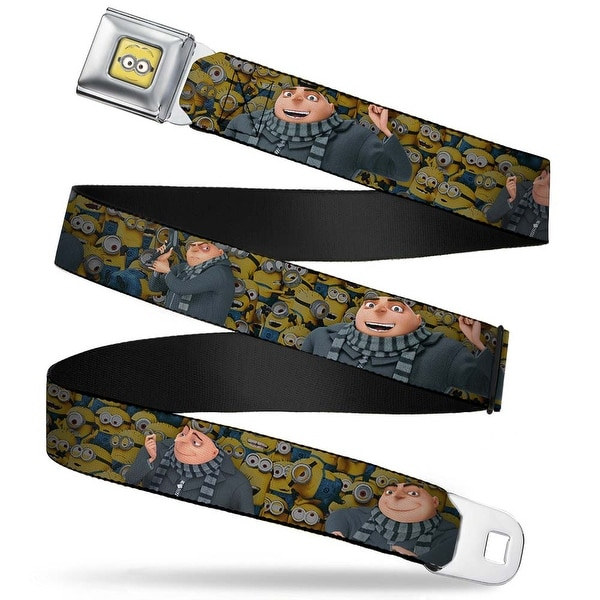 Minion Dave Face Close Up Full Color Gru Poses Stacked Minions Webbing Seatbelt Belt