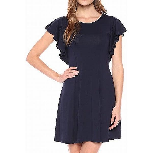 Karen Kane Womens Plus Size Diamond Contrast Handkerchief Dress
