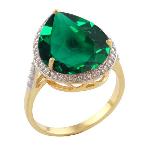 Yellow Gold Over Sterling Silver with Green Emerald Tear Drop Solitaire Ring