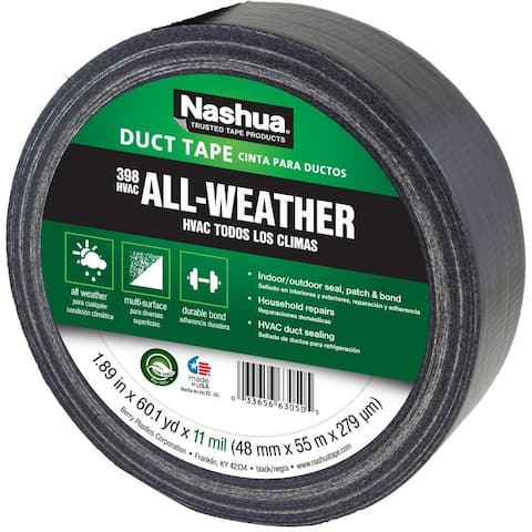 "Nashua 1207791 All-Weather HVAC Duct Tape, Black, 11 Mil, 1.89"" x 60 Yd, #398"