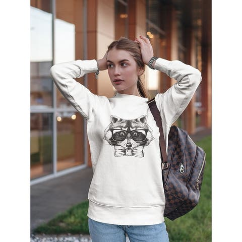 Hand Drawing Hipster Raccoon. Sweatshirt Women's -Image by Shutterstock