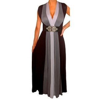 Funfash Plus Size Clothing for Women Gray Black Slimming Block Cocktail Maxi Dress