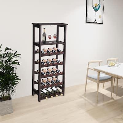 Wooden Wine Rack Free Standing Wine Holder Display Shelves 20 Bottles