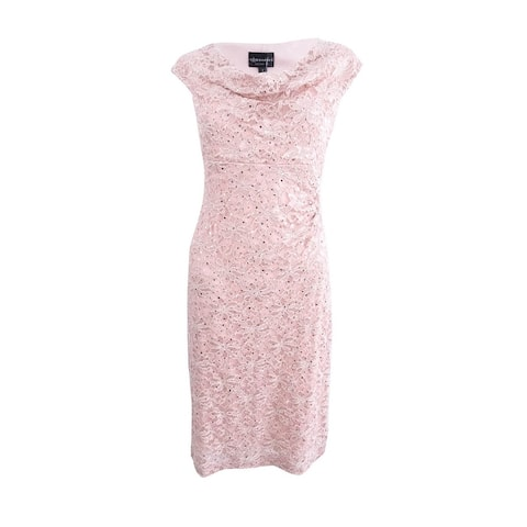 Connected Women's Metallic Cap Sleeve Cowl Neck Dress