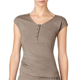 Calvin Klein Cap Sleeve Sleep Pajama Top - taupe - Medium