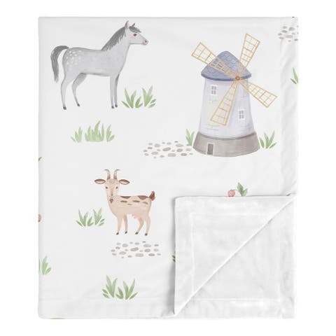 Farm Animals Collection Boy Girl Baby Receiving Security Swaddle Blanket - Watercolor Farmhouse Horse Cow Sheep Pig