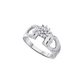 1/10Ctw Diamond Cluster Ring White-Gold 14K