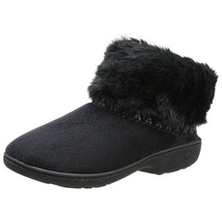 Isotoner Womens Memory Foam Faux Fur Bootie Slippers