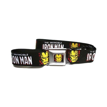 Marvel Comics Iron Man Seatbelt Belt The Invincible Face Logo Avengers-Holds Pants Up