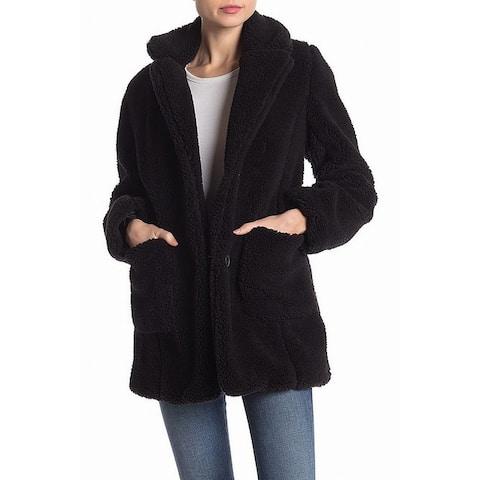 Sebby Womens Medium Notch Lapel Faux Shearling Jacket