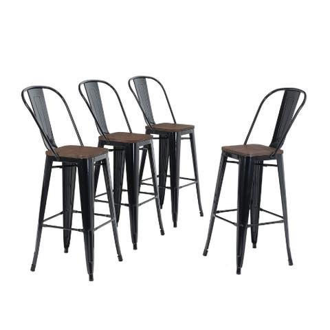 ALPHA HOME 30'' High Back Bar Stools with Wood Seat,Vintage Metal Dining Chairs Stackable Industrial Counter Stool
