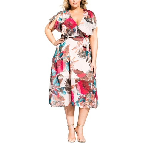 City Chic Womens Plus Midi Dress Floral Casual - Exotic Palm