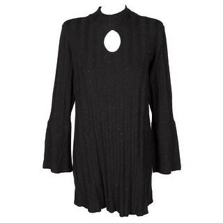 Style & Co Plus Size Black Glitter Mock-Neck Lantern-Sleeve Keyhole Sweater 3X