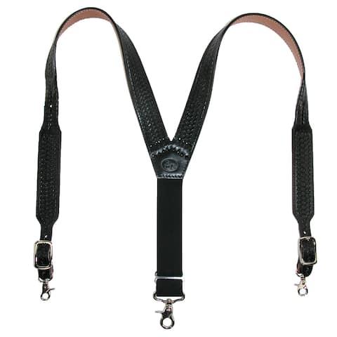 3 D Belt Company Men's Leather Hand Tooled Black Suspenders