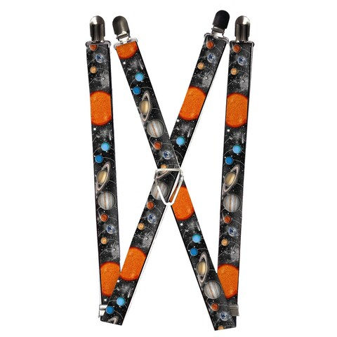 Buckle Down Kids' Elastic Solar System Print Clip-End Suspenders