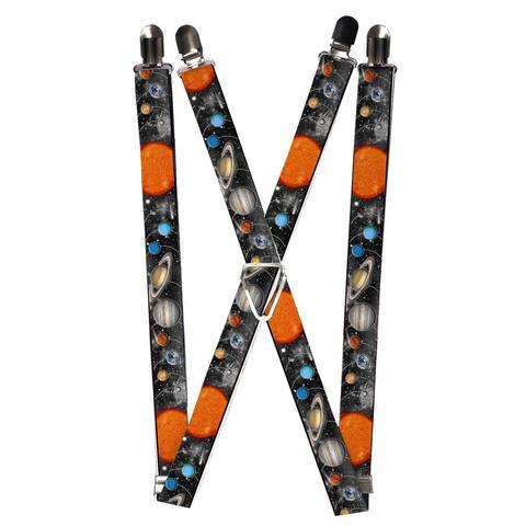 Buckle Down Men's Elastic Solar System Print Clip-End Suspenders - one size