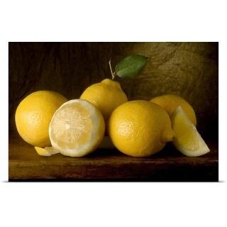 Poster Print entitled Yellow Lemons on a Board