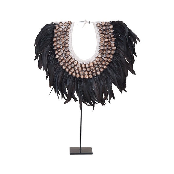 """27"""" Black and Brown Shell with Feather Necklace on Metal Stand Table Top decoration - N/A"""