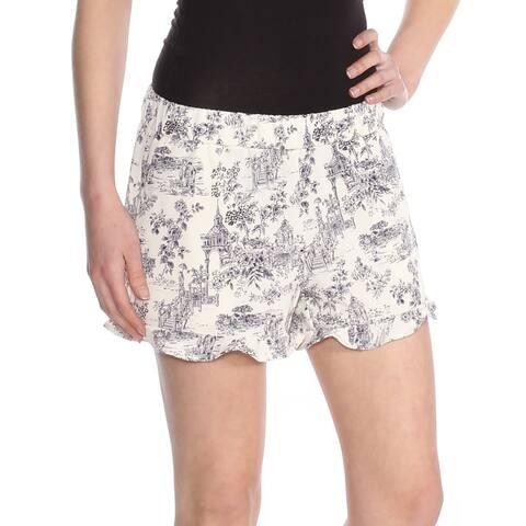MAISON JULES Womens Ivory Printed Ruffle Hem Short Size XS