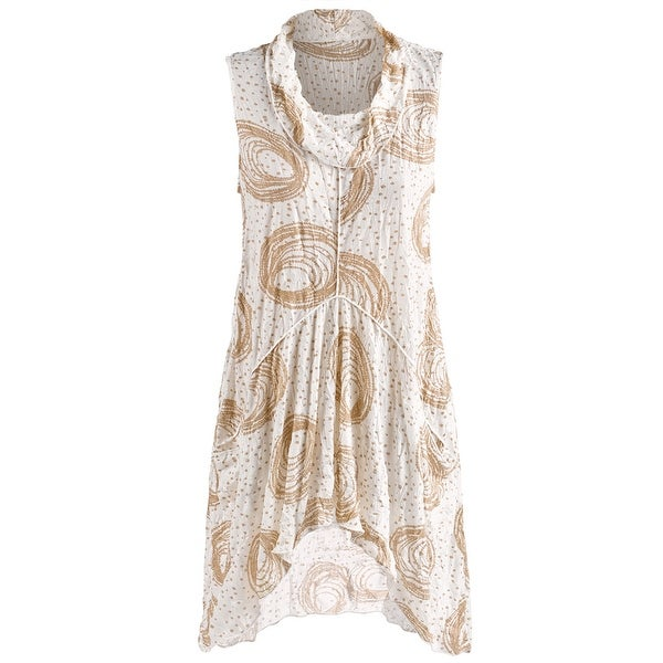 Women's Sleeveless Tunic Top - Drape Neck Super Circle Blouse
