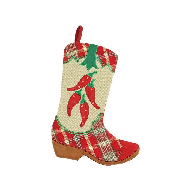 "18.5"" Wild West Embroidered Chili Peppers Red Plaid and Brown Burlap Cowboy Boot Christmas Stocking"