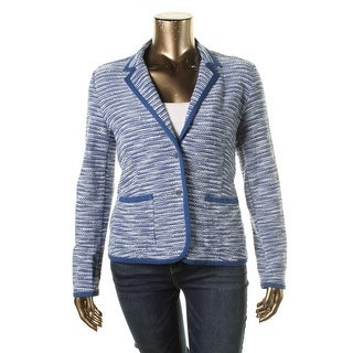 Tommy Hilfiger Womens Long Sleeves Contrast Trim Two-Button Blazer