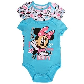 Disney Baby Girls Blue White Minnie Letter Print 2 Pc Bodysuit Pack