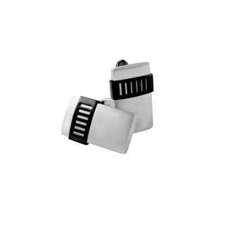 Dolan Bullock Men's Black Ion-Plated Cufflinks in Stainless Steel - White