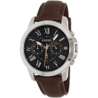 Fossil Men's Grant FS4813 Brown Leather Leather Quartz Fashion Watch