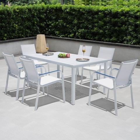 NUU Garden outdoor White 7 Piece Aluminum Dining Set